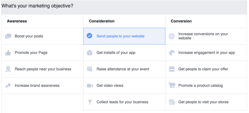 facebook ad campaign objectives
