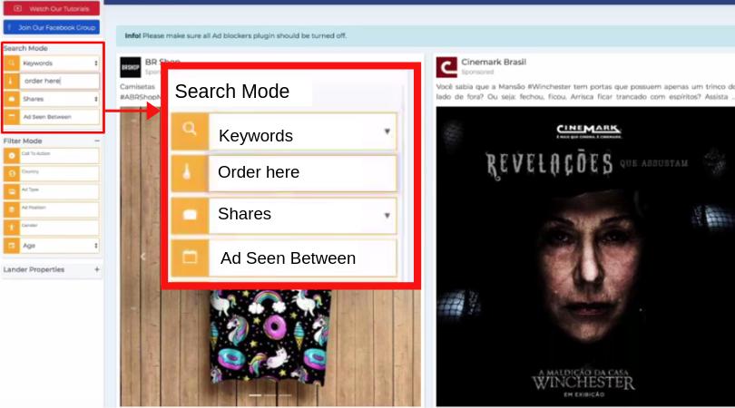PowerAdSpy-Search-Mode