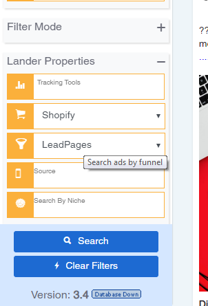 PowerAdSpy search mode and filter mode